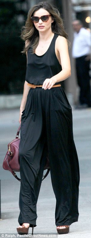 Off-duty attire: Even the outfit Miranda wore to the shoot was gorgeous as she sported a black jumpsuit