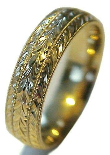 NEW! HAND ENGRAVED WOMAN 14K YELLOW GOLD 6MM WIDE WEDDING