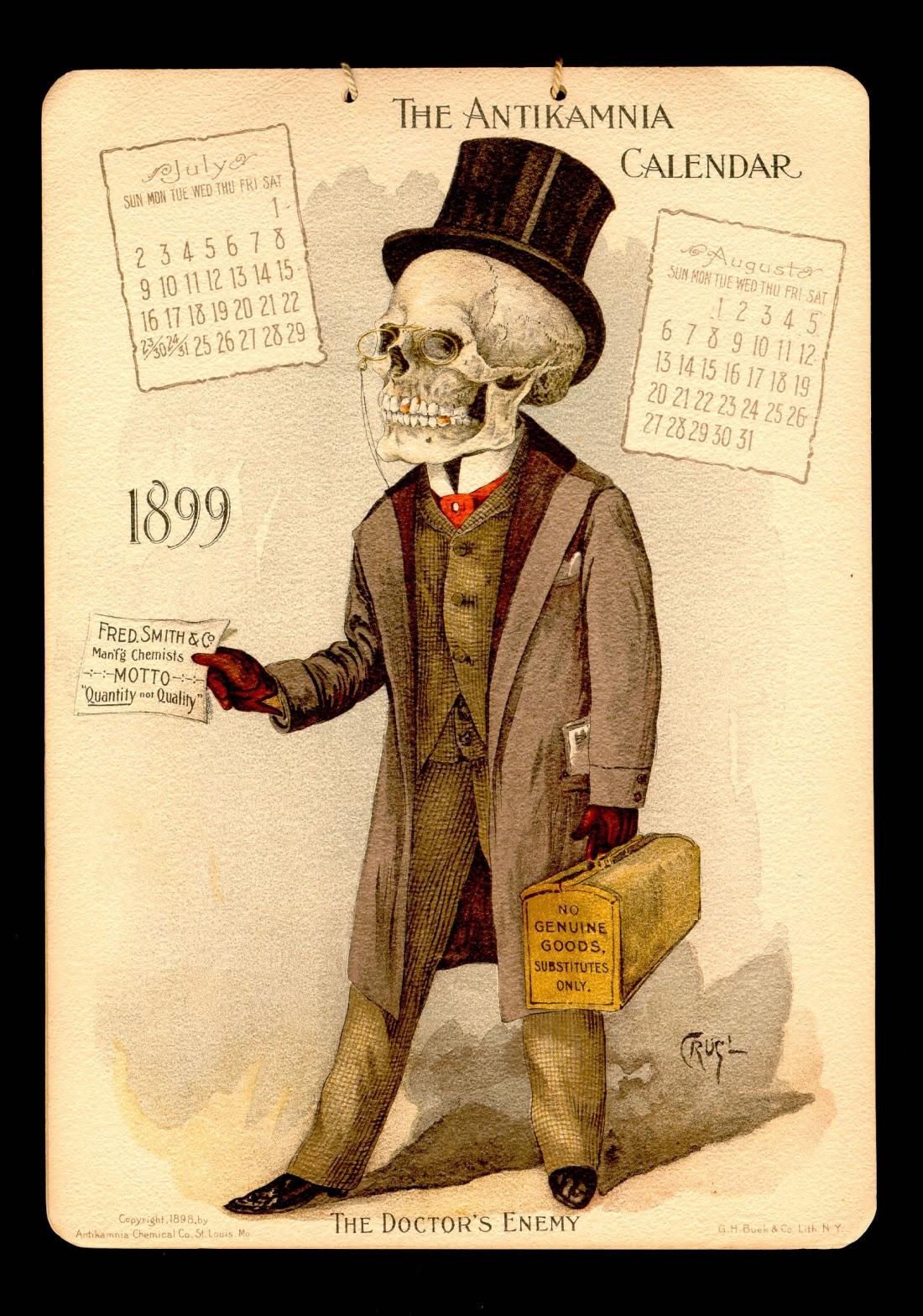 1899 antikamnia medical calendar