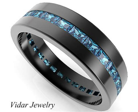 Black Gold Rings Baguette Blue Diamond Wedding Band For