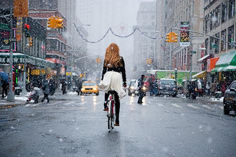 redhead bicycling