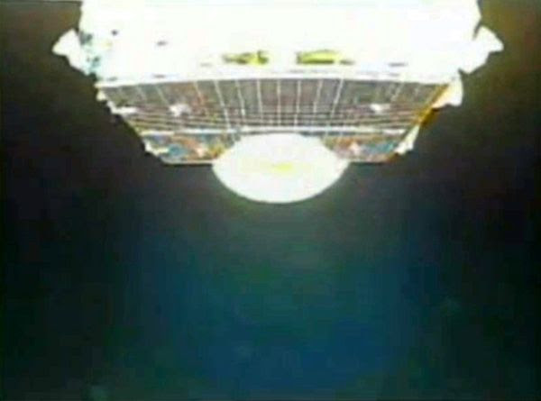 A camera aboard the H-IIA rocket captured this image of the Hayabusa 2 spacecraft shortly after payload fairing jettison during launch...on December 3, 2014 (Japan time).