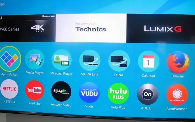 Com uma interface simples e elegante, Firefox OS, sistema originalmente desenvolvido para smartphones, estará nas TVs Panasonic de 2015. Foto: Emily Canto Nunes/iG