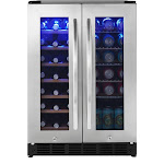 Insignia - 42 Bottle or 114 Can Built-in Dual Zone Wine and Beverage Cooler - Stainless steel