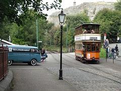 Split van and Glasgow Tram