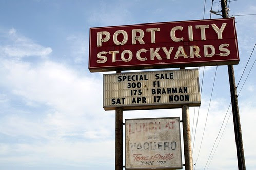 port city stockyards signage