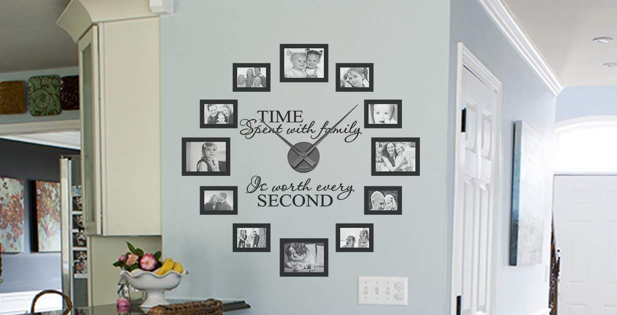 Picture Frame Quote Clock Kit Wall Decals Wall Stickers Wall