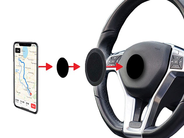 SafeVuu™ Steering Wheel Phone Mount for $34