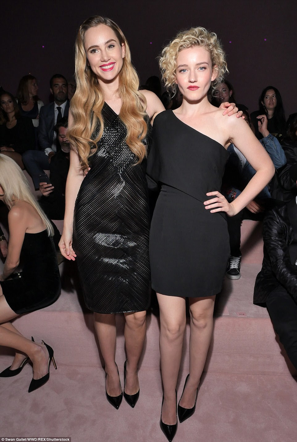 All the blondes! Julia posed alongside Suki as they both opted for little black dresses
