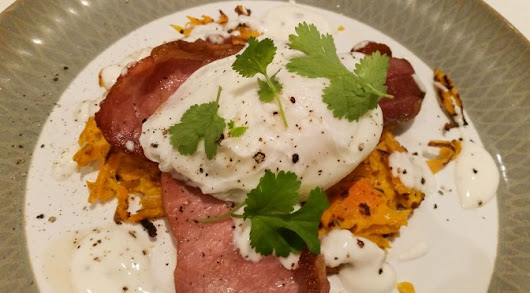 Lazy brunch: butternut rostis with bacon and poached eggs | Feeding Franklin