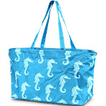 """Zodaca Large All Purpose Stylish Magnetic Clasp Open Top Handbag Laundry Shopping Utility Tote Carry Bag (Size: 21""""L x 11""""W x 13.5""""H) - Blue Seahorse"""