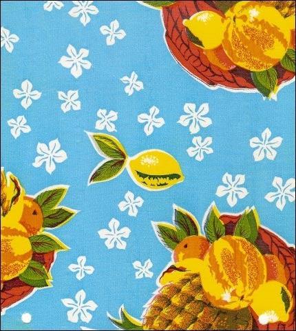 Pineapples Light Blue Oilcloth