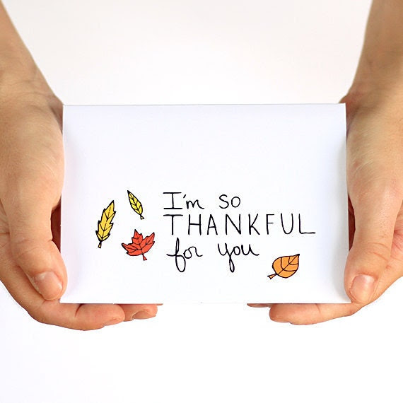 Thanksgiving Card. Thankful Card. I'm Thankful For You. Red, Yellow, Orange Leaves. Hand-drawn Card. - JulieAnnArt