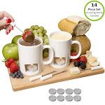 Evelots Fondue Mugs,2 Mugs,4 Forks & 8 Votive Candles-Minor Defects-14 Piece Set