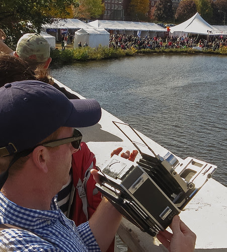 Speed Graphic photography at the Head of the Charles Regatta by ghaff