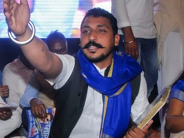 Chandrashekhar Azad launches his political party, the Azad Samaj Party, during a programme in Noida. PTI