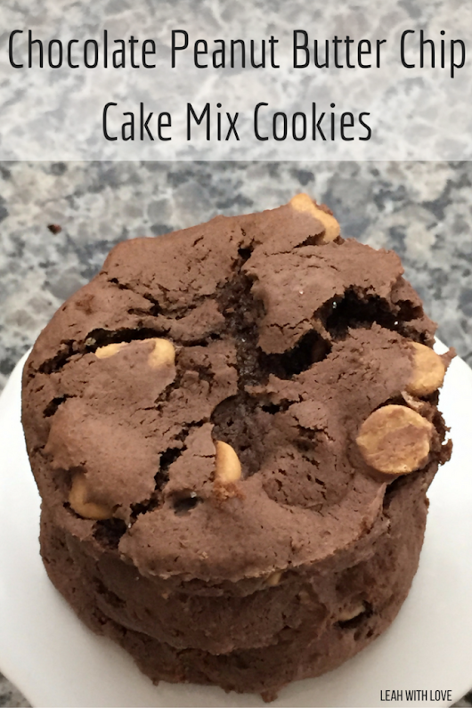 Chocolate Peanut Butter Chip Cake Mix Cookies - Leah With Love