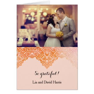 Damask Border Wedding Thank You Card Note Card