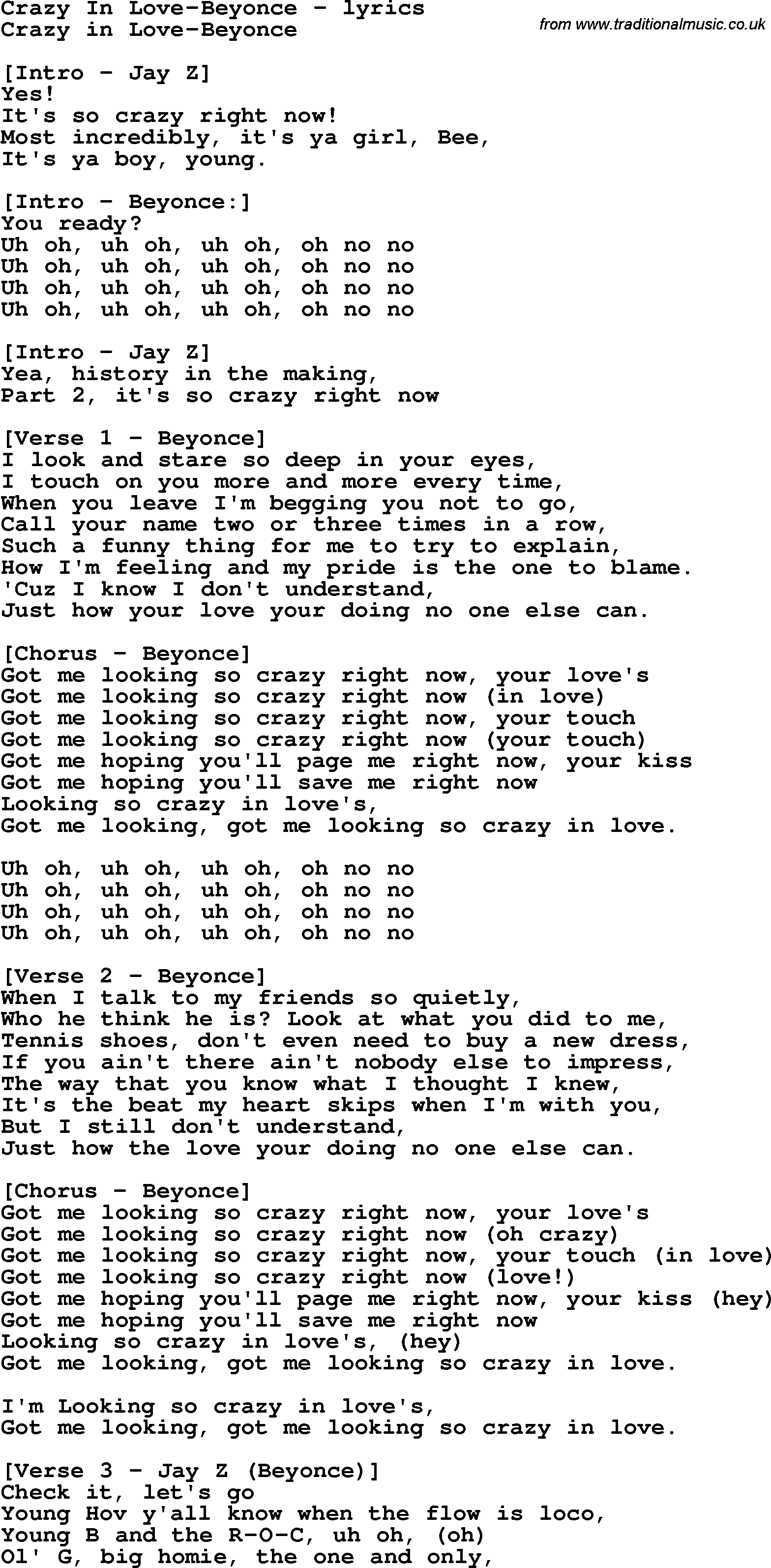 Crazy In Love Chords   Sheet and Chords Collection