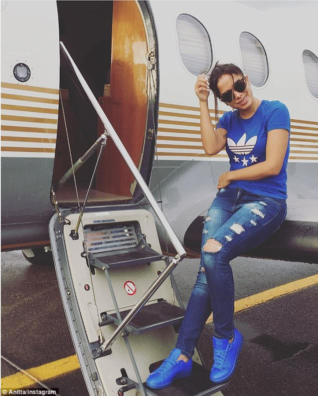 So fly: The super star jetted off to her next destination via private jet