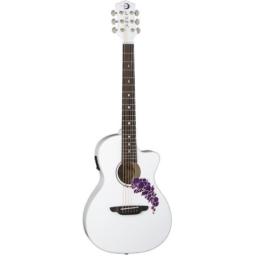 0ae37d2364 Luna Flo or CWH Flora Orchid Acousticelectric Guitar Classic White
