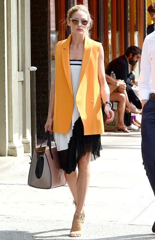 Le Fashion Blog Two Ways: Bright Summer Looks With Pleated Details - Olivia Palermo in Westward Leaning Sunglasses Tangerine Orange Sleeveless Blazer Zara Black And White Pleated Dress Aquazzura Mayfair Peep Toe Booties Smythson Colorblock Tote photo Le-Fashion-Blog-Two-Way-Bright-Summer-Looks-With-Pleated-Details-Olivia-Palermo-Orange-Sleeveless-Blazer.jpg