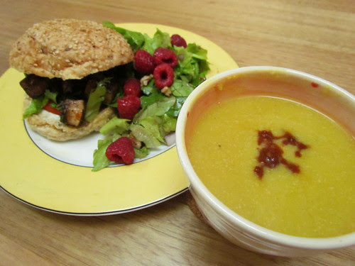 Portobello Po'Boys; Pumpkin Soup with Chipotle Puree; Butterhead Lettuce and Walnut Salad with Raspberry-Walnut Vinaigrette