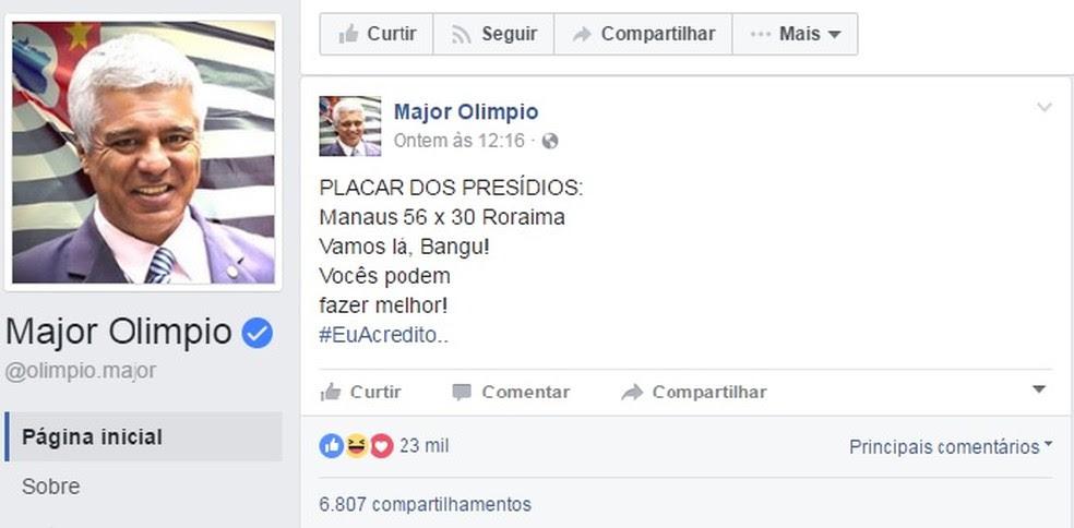 Publicação do deputado federal Major Olímpio (SD-SP) em rede social na qual faz placar com as mortes de presidiários em Manaus e Roraima (Foto: Reprodução/Facebook)