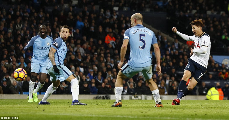 Son Heung-Min then equalised for Spurs with 12 minutes to play with a cool low finish to beat City keeper Claudio Bravo