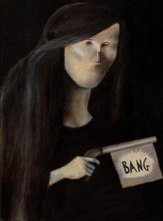 "Peculiar Portrait ""Bang"" Original Oil Painting"