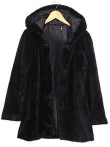 Hooded Long Sleeve Black Coat