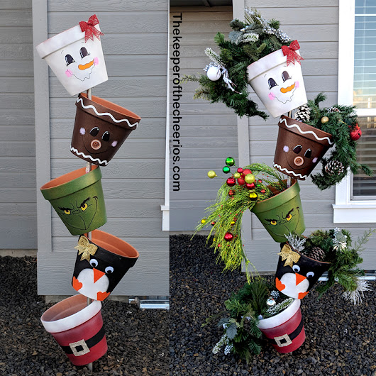 Christmas Topsy Turvy Pots - The Keeper of the Cheerios