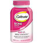 Caltrate Bone Health 600 & D3 Bone Strength Calcium Dietary Supplement Tablets - 200ct