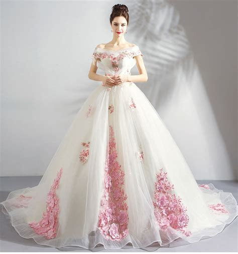 White And Pink Wedding Dress With Train A Line Sale Online