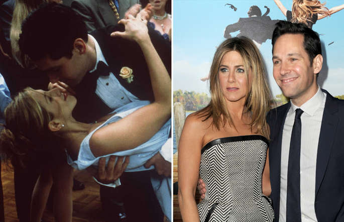 "1998 Jennifer Aniston and Paul Rudd star in ""The Object of My Affection.""; WESTWOOD, CA - FEBRUARY 16:  Actors Jennifer Aniston (L) and Paul Rudd arrive at the premiere of Universal Pictures' 'Wanderlust' held at Mann Village Theatre on February 16, 2012 in Westwood, California."