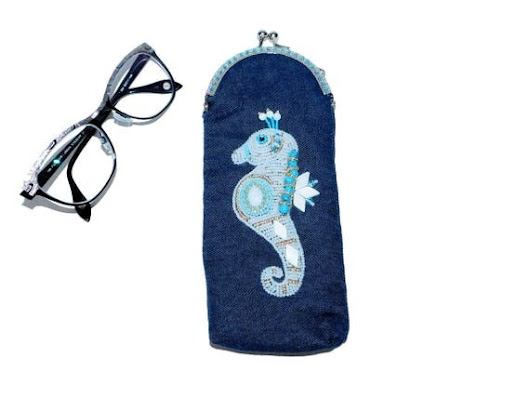 Free shipping USA & Canada. Bead Embroidered Seahorse