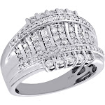 10K White Gold Mens Genuine Diamond Statement Pinky Ring 15mm Wedding Band 1 ct., Men's, Grey Type