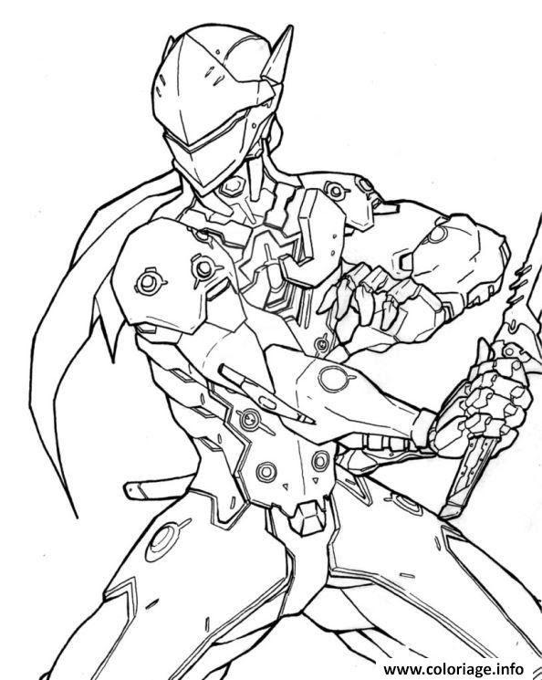 Coloriage Overwatch Genji Heros Dattaque Jecoloriecom