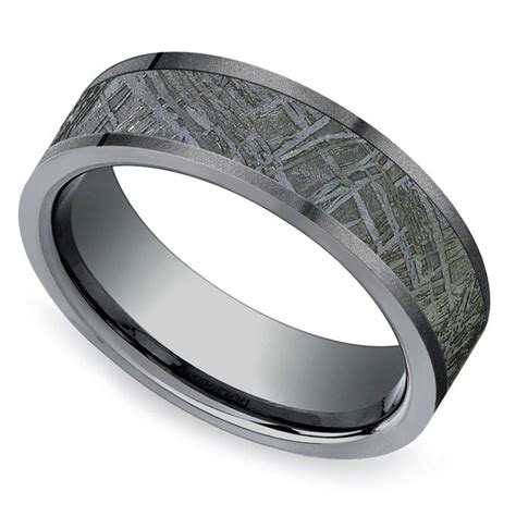 sandblasted meteorite inlay mens wedding ring  titanium