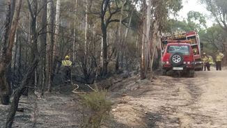 Els Bombers treballen en l'incendi de Blanes