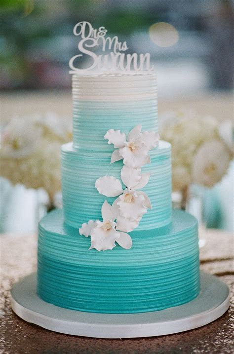 aqua ombre wedding cake  white orchids