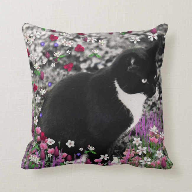 Freckles in Flowers II, Tuxedo Kitty Cat Pillow