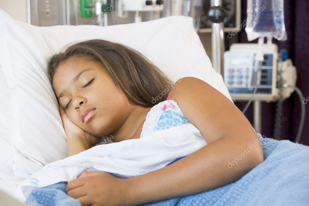Young Girl Sleeping In Hospital Bed — Stock Photo ...