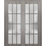 Sliding Closet Frosted Glass Lites Bypass Doors | Felicia 3312 Ginger Ash Gray | Sturdy Top Mount Rails Moldings Trims Hardware Set | Wood Solid