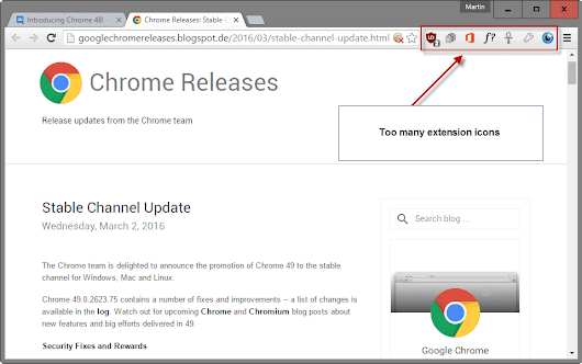 How to hide extension icons in Google Chrome's toolbar - gHacks Tech News