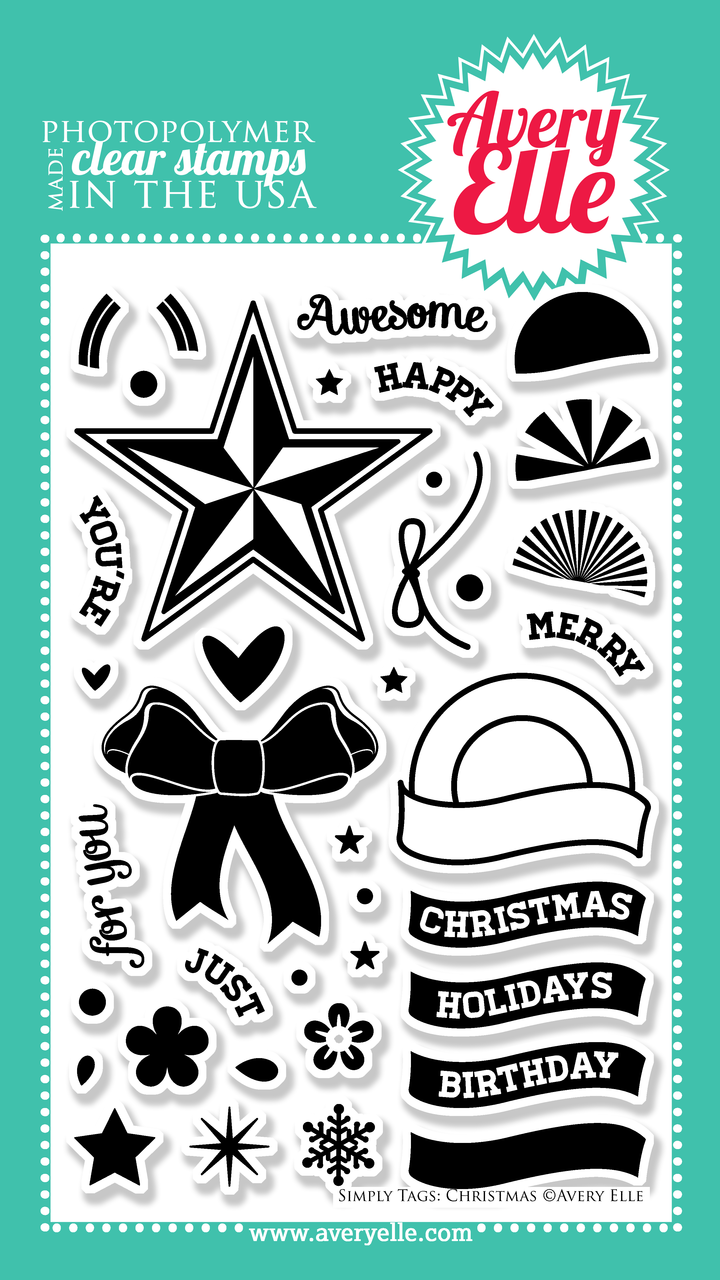 """Our 4"""" x 6"""" Simply Tags:Christmas clear photopolymer stamp set (designed by Nina Yang) is exactly what you need to create the perfect Holiday, Birthday or just because gift tags and cards.  With sentiments for so many occasions this set is a must have staple in any stamper's collection. Use the coordinating Simply Tags: Christmas Ornament &  Simply Tags: Christmas Bow Elle-ments custom steel dies to create a professional look."""