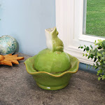 """Indoor Tabletop Fountain w/ Green Ceramic Frog Water Feature - 8"""" by Sunnydaze Decor"""