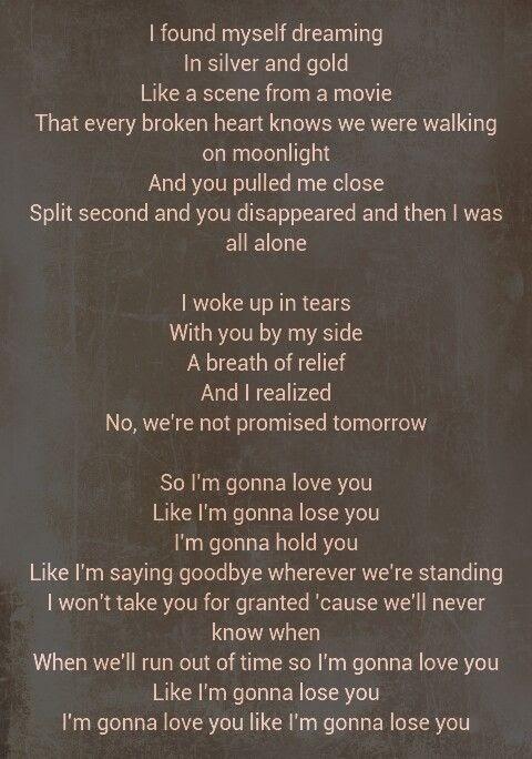 Lyrics For Like I M Gonna Lose You
