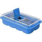 No Spill Large Ice Cube Tray - Lid Included (Blue)