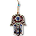 Blessing for Home Good Luck Wall Decor Hamsa Chai Hand - Red Blue Gold-Tone